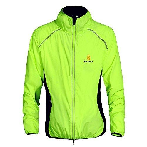 WOSAWE Heren Fietsjas Lichtgewicht Ademend Rijden Kleding Lange Mouw Running Sport Jacket(BC220 Groen 3XL)