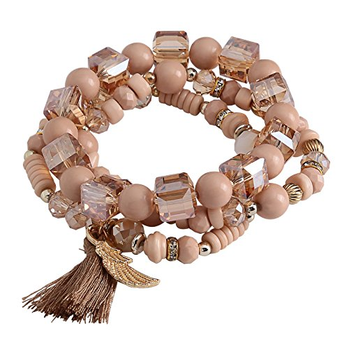 Price comparison product image Aokarry Tassel Bracelets for Women Angle Wing Acrylic Beads Elastic Leisure Style Khaki