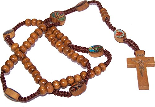 - Tan Wooden Beads Rosary with Enamelled icons beads with Jesus Imprint Cross