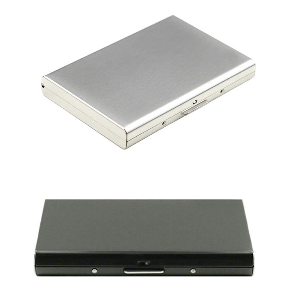 Professional Business card case, Sourceton Portabiglietti 2confezioni con meccanismo a scatto, organizer per biglietti per contenere 10–18biglietti da visita, colore: Nero/Argento