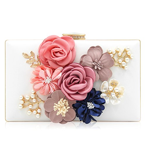 Milisente Women Flower Clutches Evening Bags Handbags Wedding Clutch Purse (White)