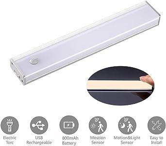 Luz Nocturna,Luz LED Armario con Sensor Movimiento Lámpara Nocturna Recargable USB Recargable para Gabinete Pasillo,Escalera,Cocina,pasillo,recámara,sala infantil: Amazon.es: Iluminación