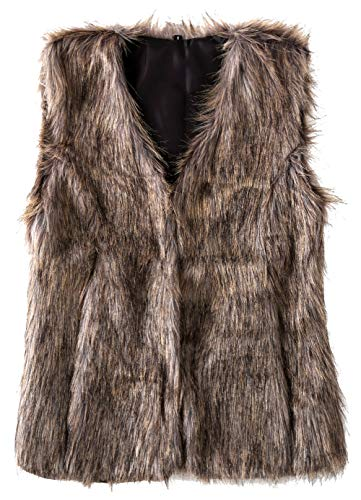 - SUNDAY ROSE Women's Faux Fur Vest Warm Sleeveless Jacket Gilet with Pockets,Color Grey,Size S
