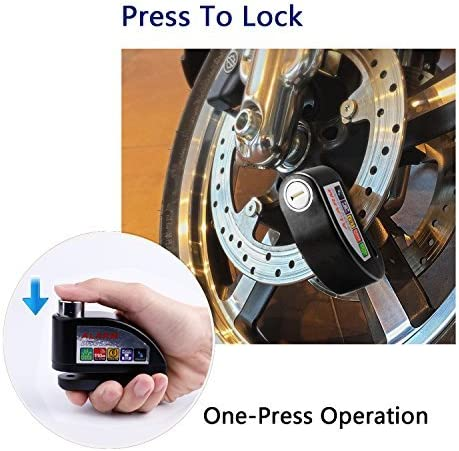 Upgrade Quality Zinc Alloy FD-MOTO 110dB Alarm Brake Disc Lock Anti-theft 7mm Pin Security Lock 1.5m Reminder Cable For Motorbike Motorcycle Scooter Bike Bicycle