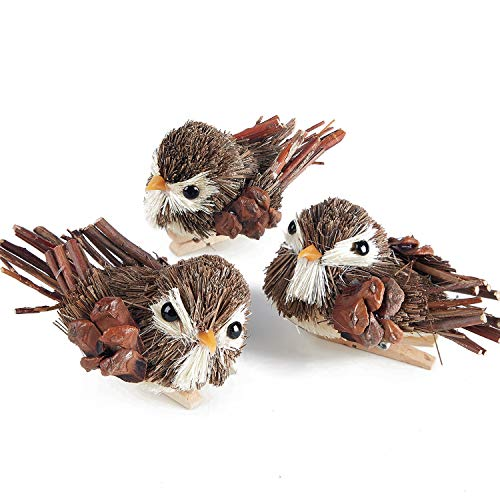 - MACTING Handmade Wooden Sparrow with Clips, Set of 3pcs Craft Wood Birds for Christmas Thanksgiving Home Decoration