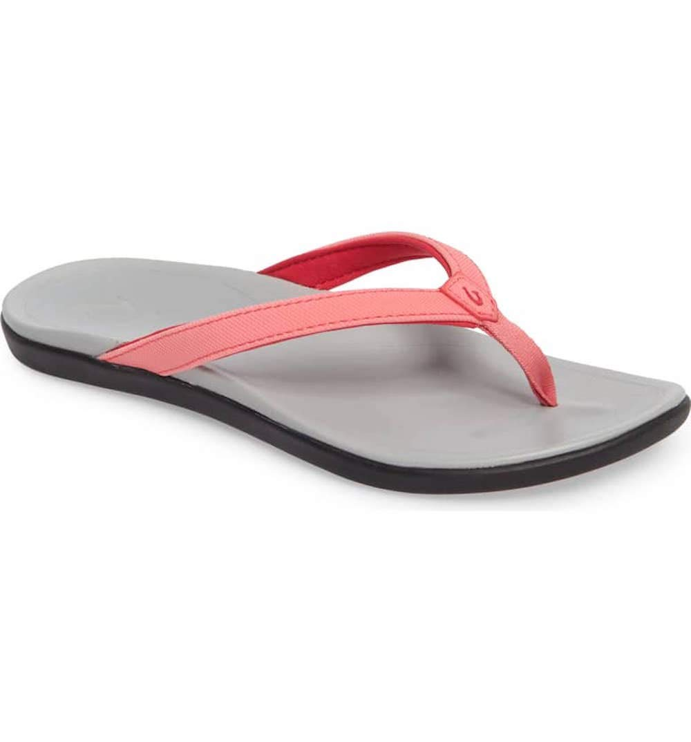Juava Jelly  Pale Grey OluKai Ho'opio Leather Sandal - Women's