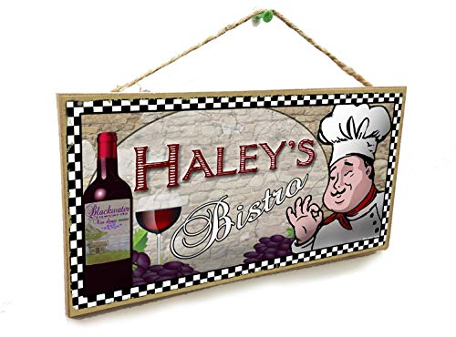 Blackwater Trading Personalized Custom Your Name's Bistro Italian Fat Chef Style Wine Kitchen Sign Plaque 5