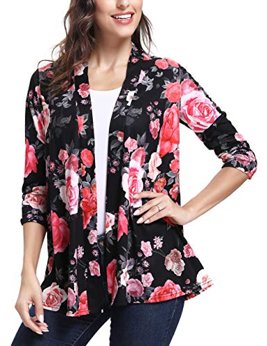 ANGGREK Womens Flower Cardigan Lightweight Long Sleeve Loose Kimonos