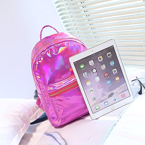 OneMoreT Funny Mochila Glossy School Gold Bags Womem Silver red Leather Pack Backpack Laser rose Girl Bag Main Holographic Bag Reflective 4q4wPrxT