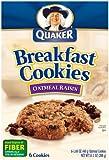 Quaker Breakfast Cookies, Oatmeal Raisin, 6-1.69oz Cookies Per Box (Pack of 6)