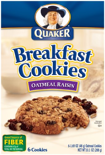 Quaker Breakfast Cookies, Oatmeal Raisin, 6-1.69oz Cookies Per Box (Pack of 6) Quaker Raisins