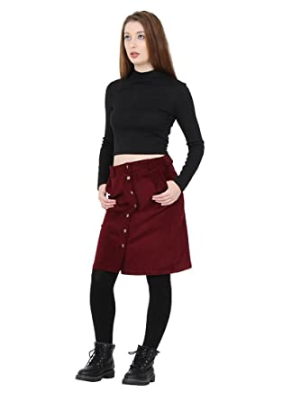 1719605a6739aa Button Front Corduroy Skirt knee-length ladies cord skirt with stretch