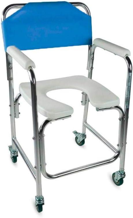 Mobiclinic, Manzanares, Silla para WC o inodoro para minusválidos y ancianos, silla orinal plegable, ayuda para baño, reposabrazos, aluminio, asiento ergonómico, conteras antideslizates, azul