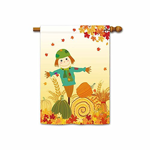 KafePross Welcome Fall Leaves and Pumpkin Decorative House Flag Autumn Harvest Scarecrow Home Decor Banner 28