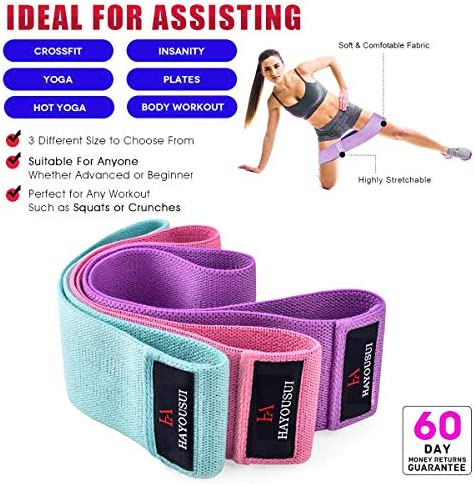 Hayousui Exercise Resistance Bands for Women - Hip Booty Bands Stretch Workout Bands Cotton Resistance Band for Legs and Butt Body Yoga Pilates Muscle Training 7