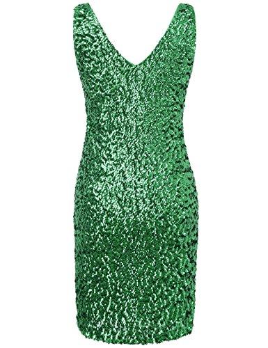 Club Glitter Deep Bodycon PrettyGuide Women's Party Mini Green Dress Sequin Neck Stretchy V w8nxXU5q