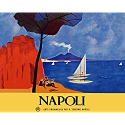 "16"" X 20"" Italy Napoli Naples Playing Guitar Italia Italian Travel Tourism Vintage Poster Repro Standard Image Size for Framing. We Have Other Sizes Available!"