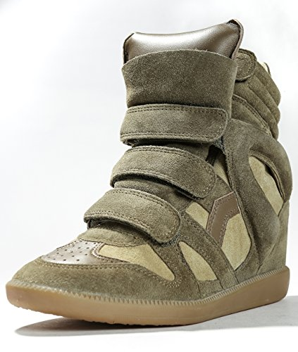 isabel-marant-womens-high-top-velcro-leather-sneakers-36-olive