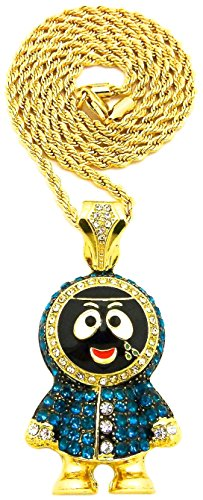 GWOOD Eskimo Brick Small Pendant with 24 Inch Long Necklace (Gold Color with Rope Chain)