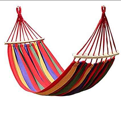 Ad Fresh Canvas Hammocks 260 * 150cm Portable Outdoor Hammock Camping Prevent Rollover Hanging Swing Bed Rainbow Color + Wooden Stick