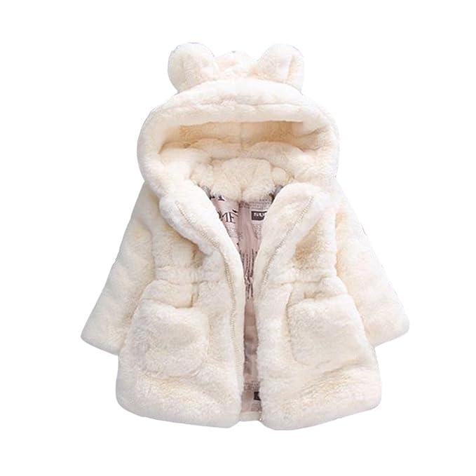 Abrigo Caliente Bebé, Internet Bebé Niñas Lactantes Otoño Invierno Conejo Engrosamiento Chaqueta con Capucha Chaqueta