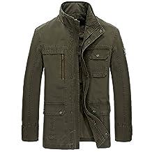 K3K Men's Casual Cotton Stand Collar Lightweight Front Zip Coat Military Jackets
