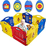 Baby Playpen for Babies Baby Play Playards 8 Panels Infants Toddler Baby Fence Safety Kids Play Pens Indoor with Activity Board