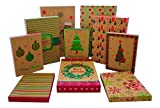 Christmas Gift Boxes - 10 Pack Kraft - High Quality Assortment Foil Kraft Gift Boxes Great for the Holidays - 3 Sizes (10)