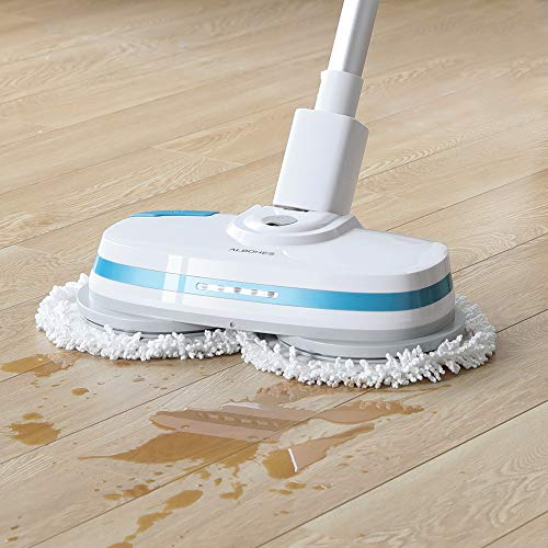- ALBOHES Cordless Spin Mop, Electronic Dual and Polisher Rechargeable Powered Floor Cleaner for All Surfaces - Rechargeable Spinning Mop-Polisher and Scrubber for Indoor Use - Reusable Pads