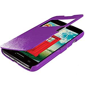 Accessory Planet(TM) Purple (Open Front) Magnetic Closing Wallet Pouch Case Cover Accessory for LG Optimus L70