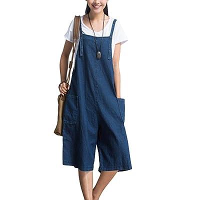 ShiFan Femme Casual Large Jambe Pantalon Jeans Combinaison Salopette Jumpsuit