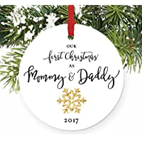 "Mommy & Daddy Ornament 2017, New Mother & Father Snowflake Porcelain Ornament, 1st Christmas as Mom & Dad, 3"" Flat Circle Christmas Ornament w Glossy Glaze, Red Ribbon & Free Gift Box 
