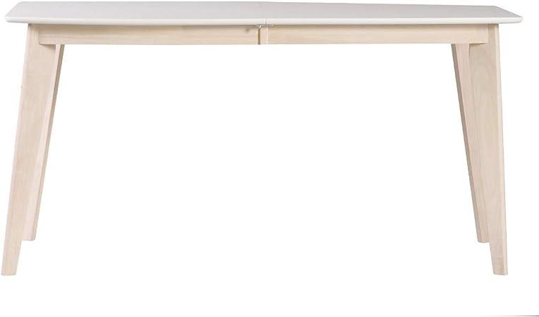 Miliboo Tavolo Da Pranzo Design Design Allungabile 150 Cm 50 Cm Bianco E Legno Chiaro Leena Amazon It Casa E Cucina