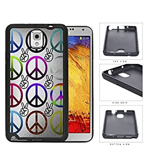 Multicolored Peace Symbols And Fingers Rubber Silicone TPU Cell Phone Case Samsung Galaxy Note 3 III N9000 N9002 N9005