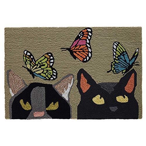 Liora Manne FTP23443816 Frontporch Pet Cats and Butterflies Indoor/Outdoor Rug 2' X 3' Mint Green ()
