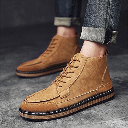 Hombres Toro castrado Zapatos Ocio Con cordones Otoño Invierno Cómodo Estampación Plato Incrementar Antideslizante tamaño Brown