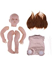 Perfeclan Realistic 29inch Reborn Baby Mold Cloth Body Mohair Hair Kits Simulation Toddler Newborn Awake Doll Open Eyes and Mouth, DIY Gifts