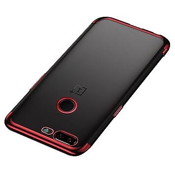 BLUGUL Funda OnePlus 5T, Electroplating Coloring, Ultra Fina, Transparente Suave TPU Silicona Cover Claro Case para OnePlus 5T Rojo