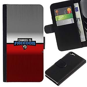 NEECELL GIFT forCITY // Billetera de cuero Caso Cubierta de protección Carcasa / Leather Wallet Case for Apple Iphone 6 // Caos es la libertad