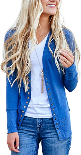NENONA Women's V-Neck Button Down Knitwear Long Sleeve Soft Basic Knit Cardigan Sweater(Blue-L) ()