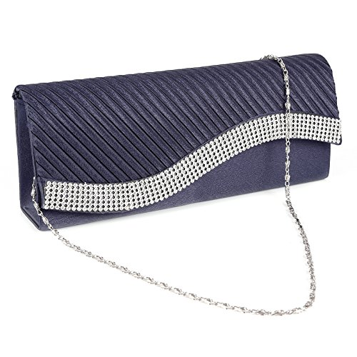 Ladies Pleated Satin Clutch Bag Diamante Shoulder Chain Elegant Prom Wedding Evening 5 Colours to Choose Navy