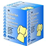 Dynarex Fluid Resistant Isolation Disposable Gowns, Full Length & Back, Yellow, Universal, 50/cs