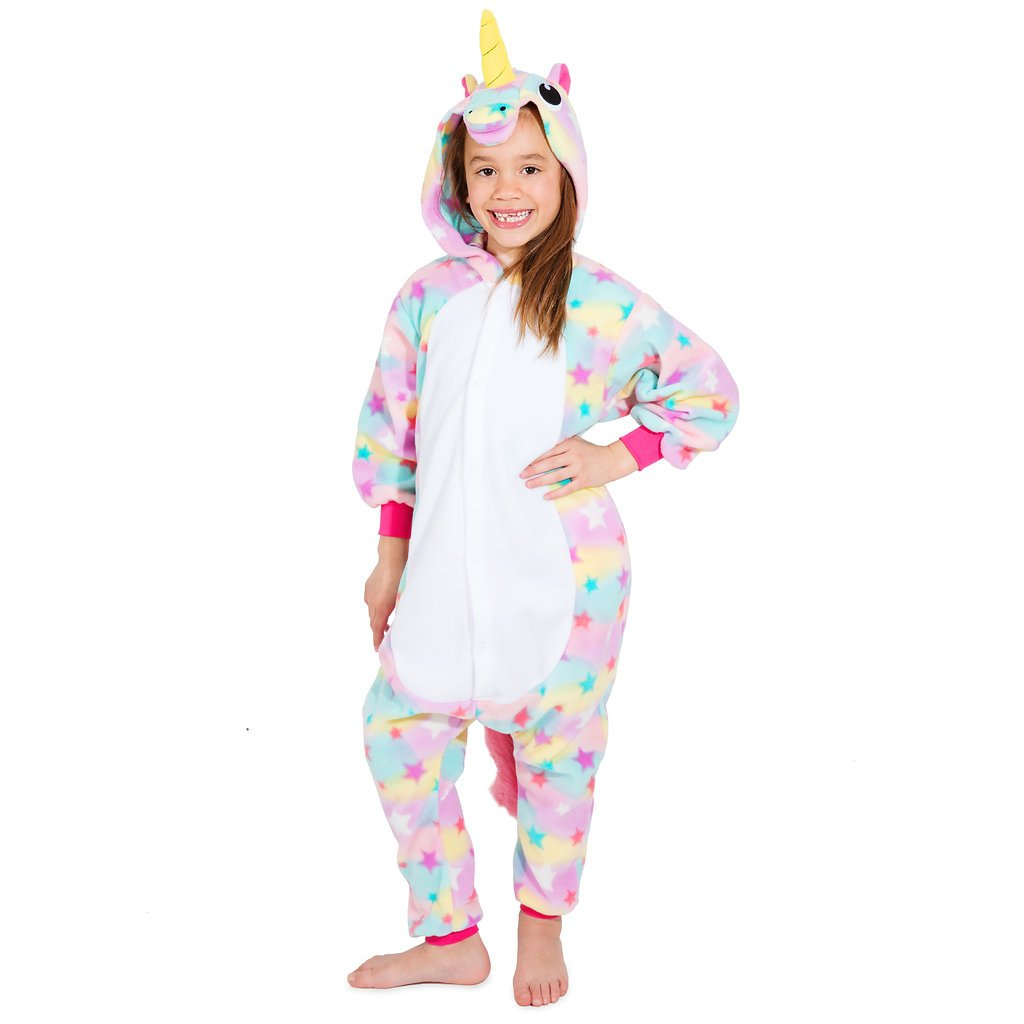 Emolly Fashion Kids Animal Unicorn Pajama Onesie - Soft and Comfortable with Pockets (10, Rainbow)