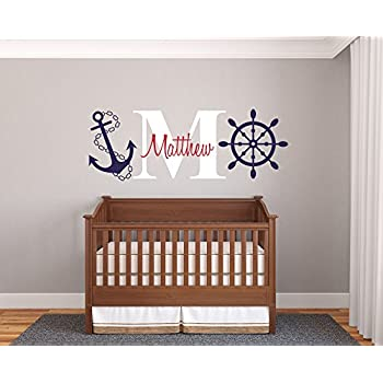 Custom Name U0026 Initial Rudder U0026 Anchor   Nautical Theme   Baby Boy   Wall  Decal Part 79