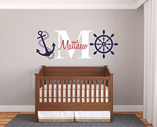 "Custom Name & Initial Rudder & Anchor - Nautical Theme - Baby Boy - Wall Decal Nursery For Home Bedroom Children (AM) (Wide 40"" x 15\"" Height)"