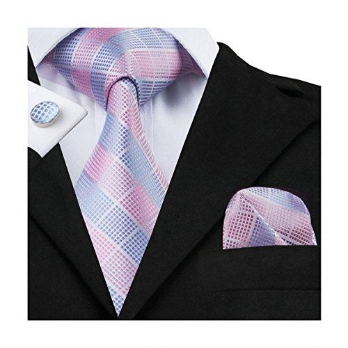 Hi-Tie Men Pink Check Plaid Stripes Tie Handkerchief Necktie with Cufflinks and Pocket Square Tie Set (Set Necktie Stripes Cufflinks)