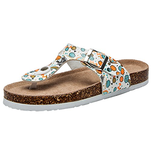 BigTree Sandals for Women T Strap Buckle Open Toe Gladiator Beach Thong Flat Summer Flip Flop Floral1
