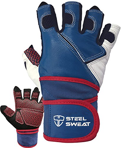 Steel Sweat Weightlifting Gloves with 18-inch Wrist Wrap Support for Workout, Gym and Fitness Training - Best for Men and Women Who Love Weight Lifting - Leather ZED Blue XL ()