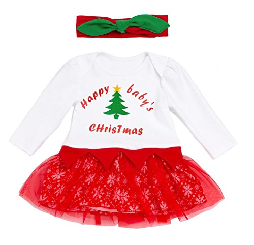 Koupa Baby Girls Outfits My First Thanksgiving/Christmas Romper Tutu Dress & Headband Sets