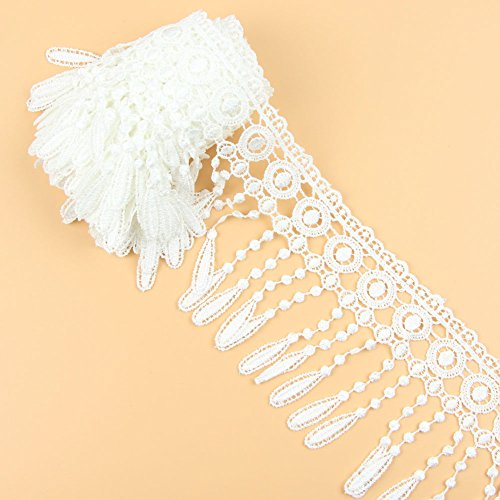 Crochet Ribbon Floral Applique - 3 Yards Floral Venise Lace Fringing Applique Embroidery Wedding Fabric,White